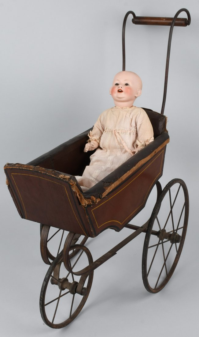 FRANZ SCHMIDT BISQUE DOLL  w/ CARRIAGE