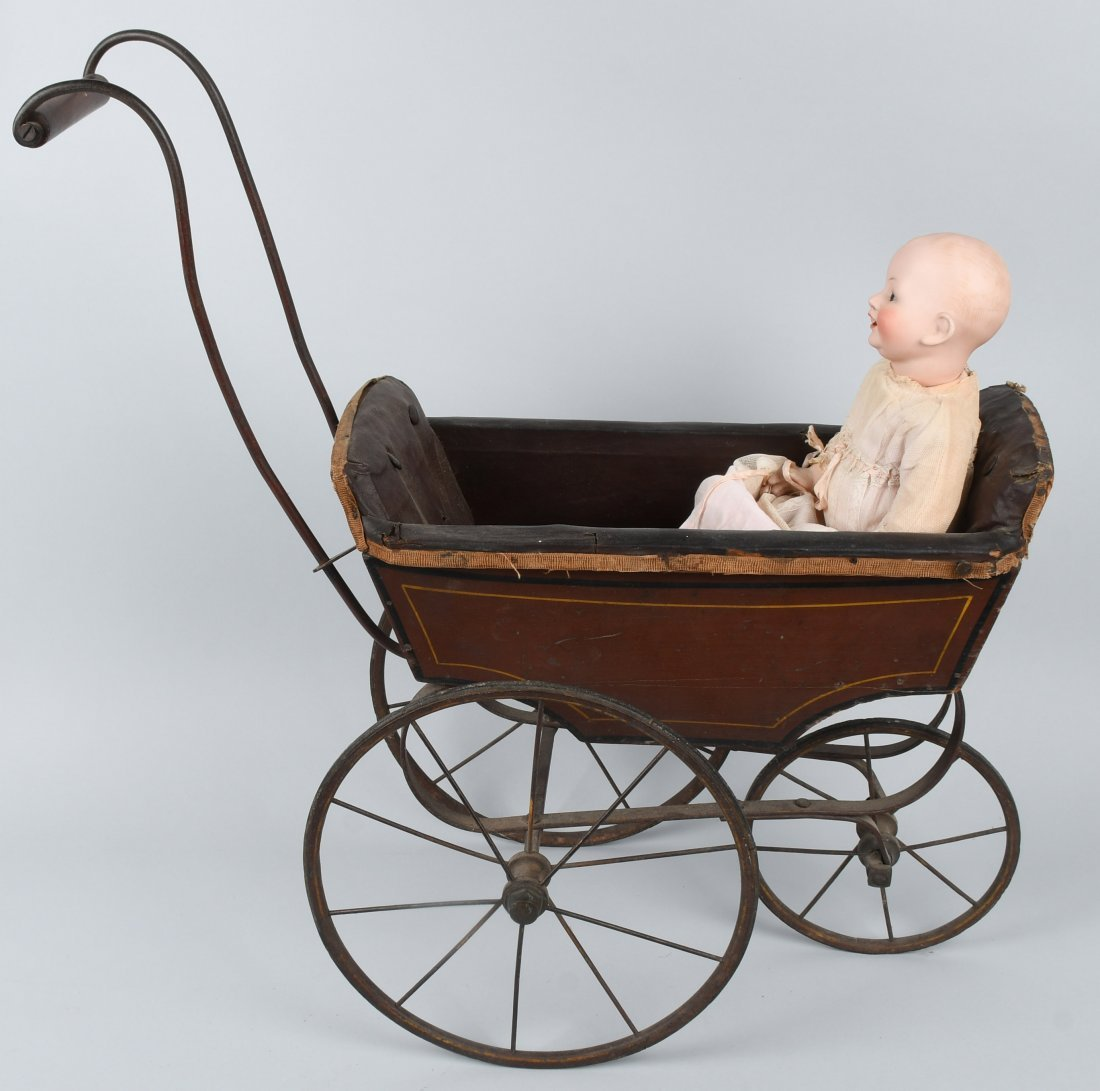 FRANZ SCHMIDT BISQUE DOLL  w/ CARRIAGE - 7