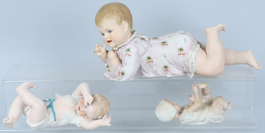 3-HUEBACH BISQUE PIANO BABIES