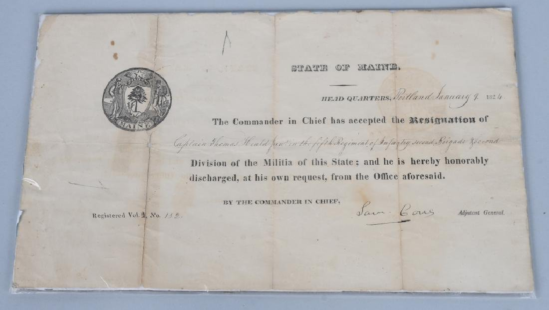 1824 MAINE MILITIA DOCUMENT - WITH STATE SEAL