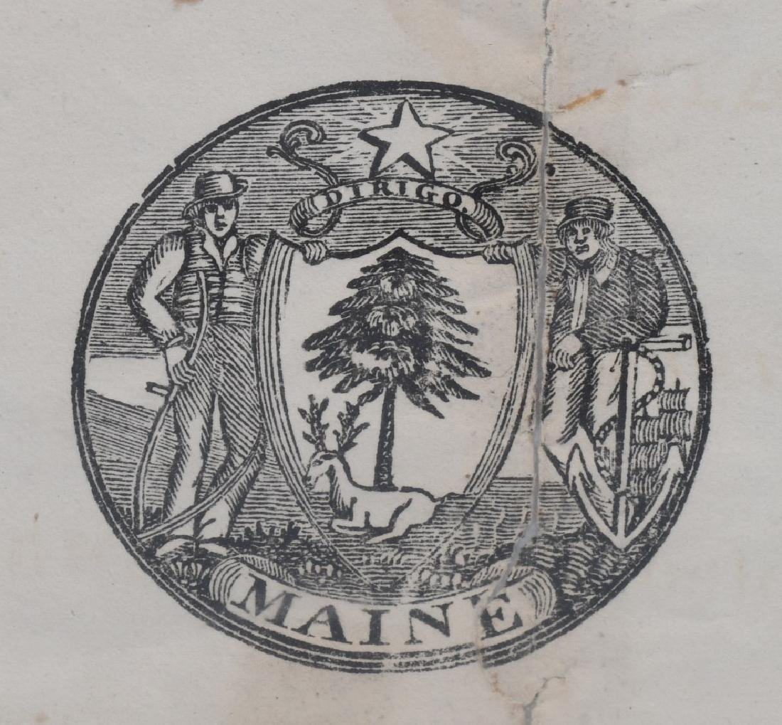 1824 MAINE MILITIA DOCUMENT - WITH STATE SEAL - 2