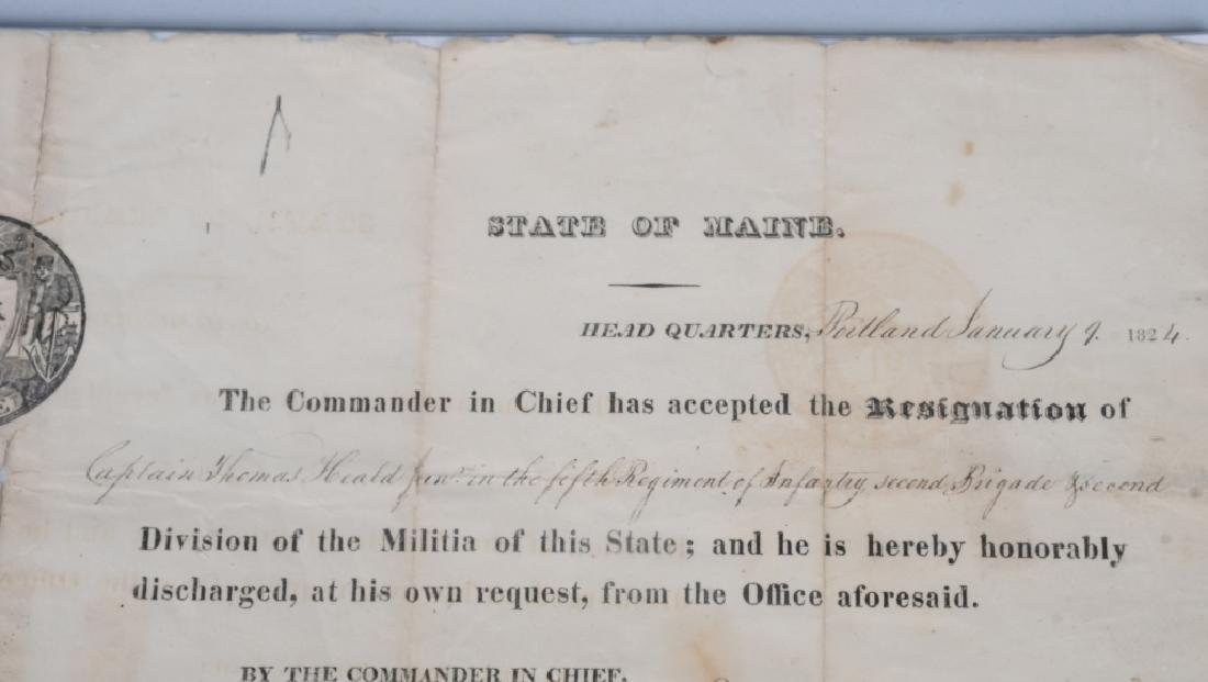 1824 MAINE MILITIA DOCUMENT - WITH STATE SEAL - 3