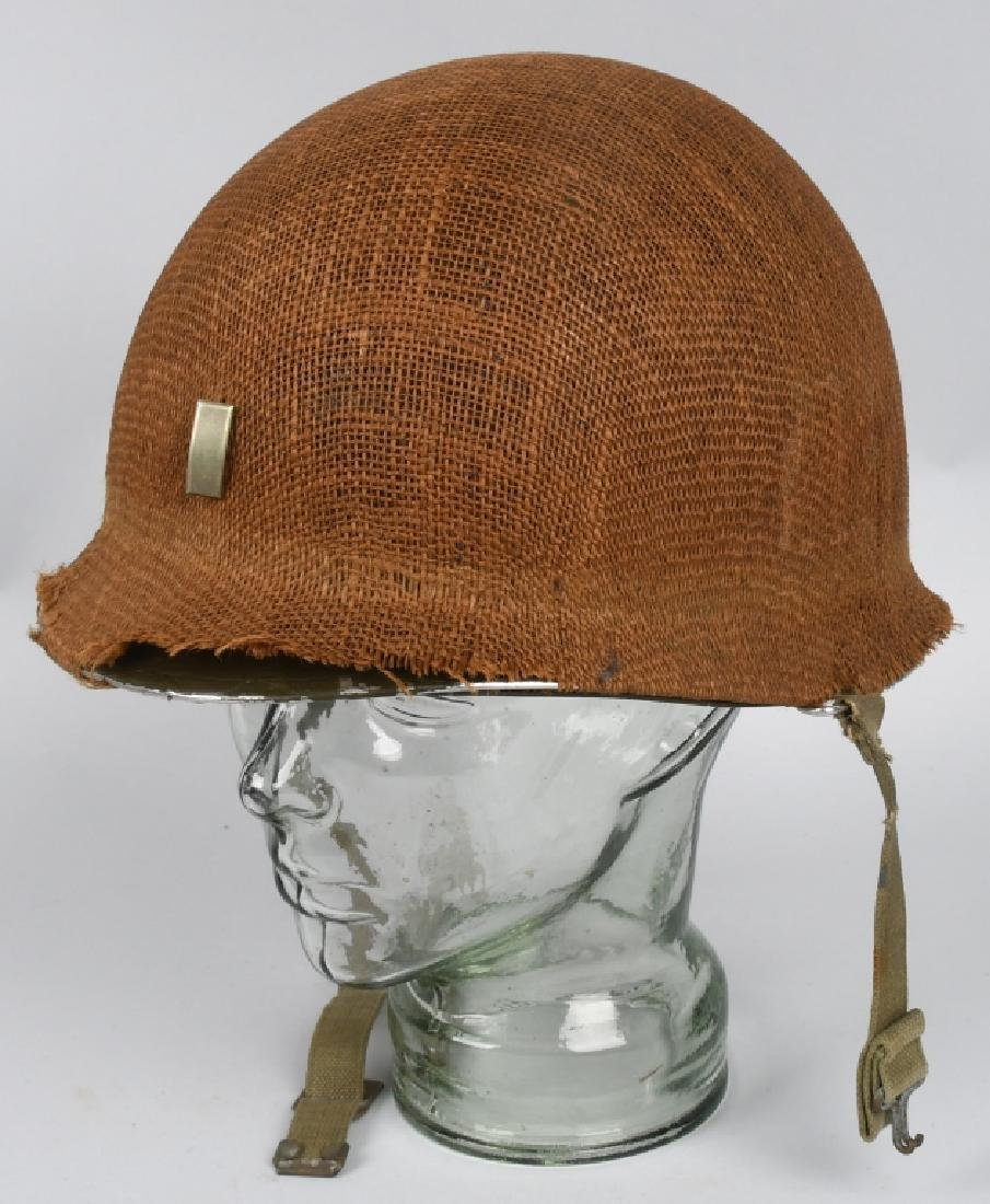 WWII MI FRONT SEAM HELMET WITH BURLAP COVER IDED