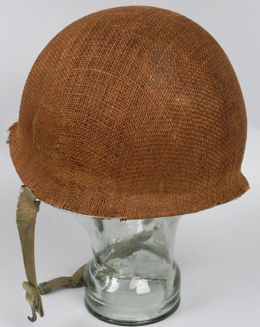 WWII MI FRONT SEAM HELMET WITH BURLAP COVER IDED - 2