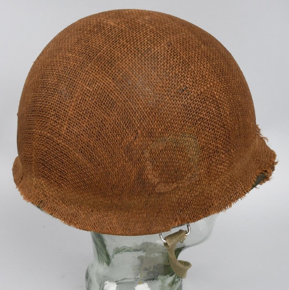WWII MI FRONT SEAM HELMET WITH BURLAP COVER IDED - 3