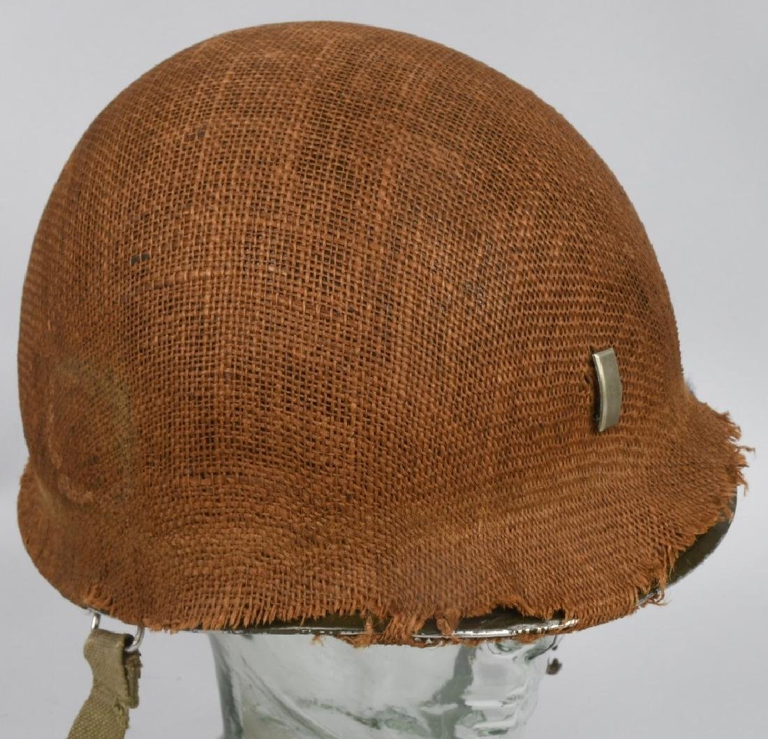 WWII MI FRONT SEAM HELMET WITH BURLAP COVER IDED - 4