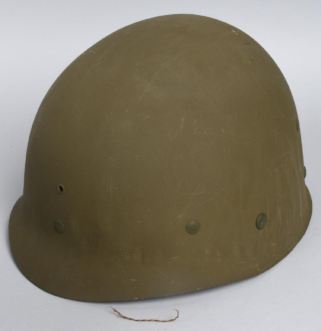 WWII MI FRONT SEAM HELMET WITH BURLAP COVER IDED - 6