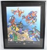 DC COMICS 60th ANNIVERSARY PRINT AUTOGRAPHED