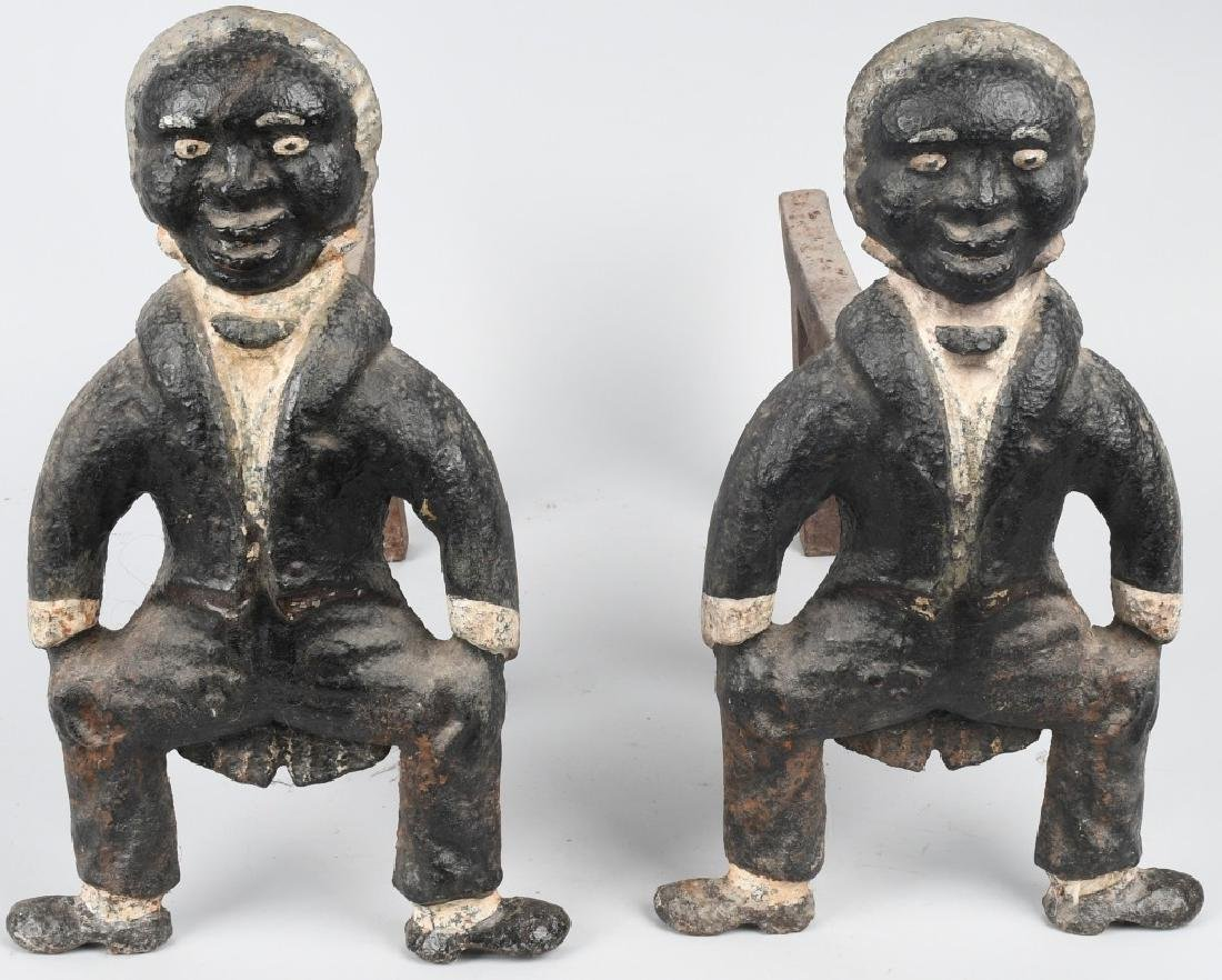 PAIR of CAST IRON BLACK MAN FIGURAL ANDIRONS