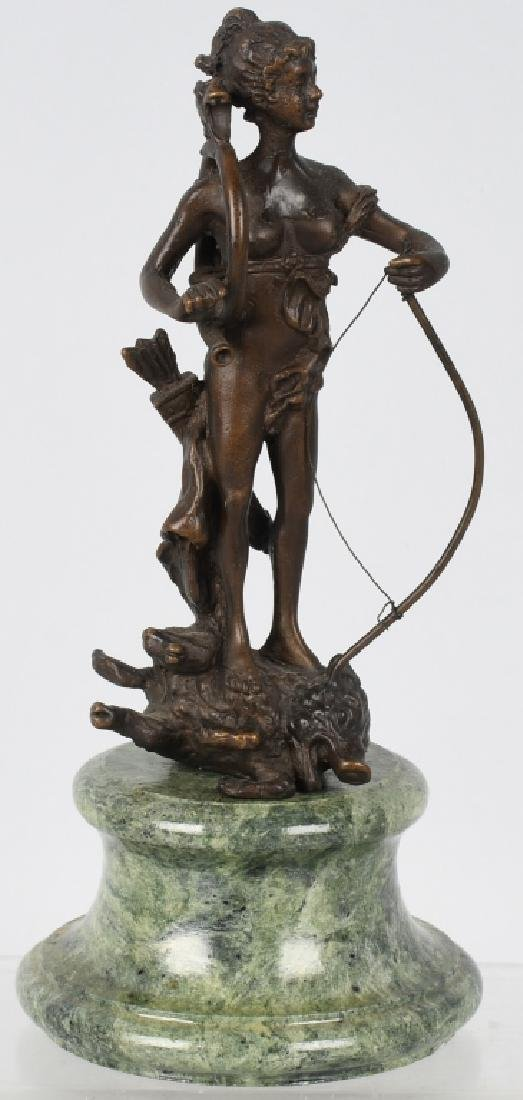 BRONZE DIANA VICTORIOUS ARCHER on BOAR