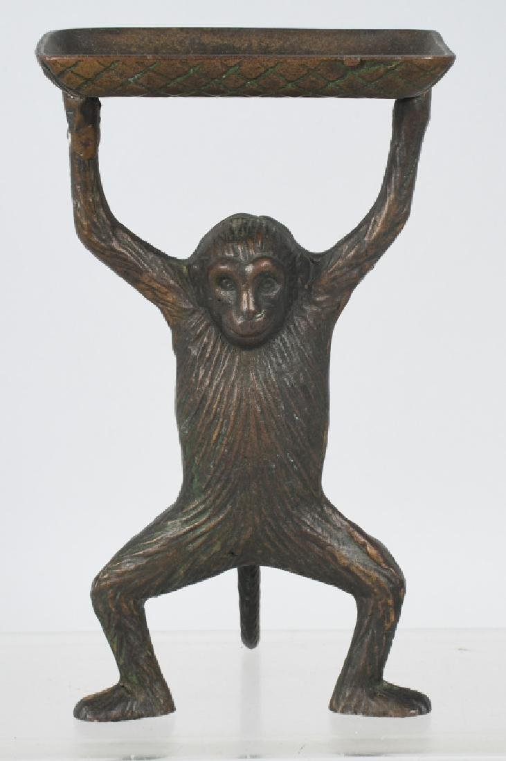 BRONZE MONKEY & TRAY BUSINESS CARD HOLDER