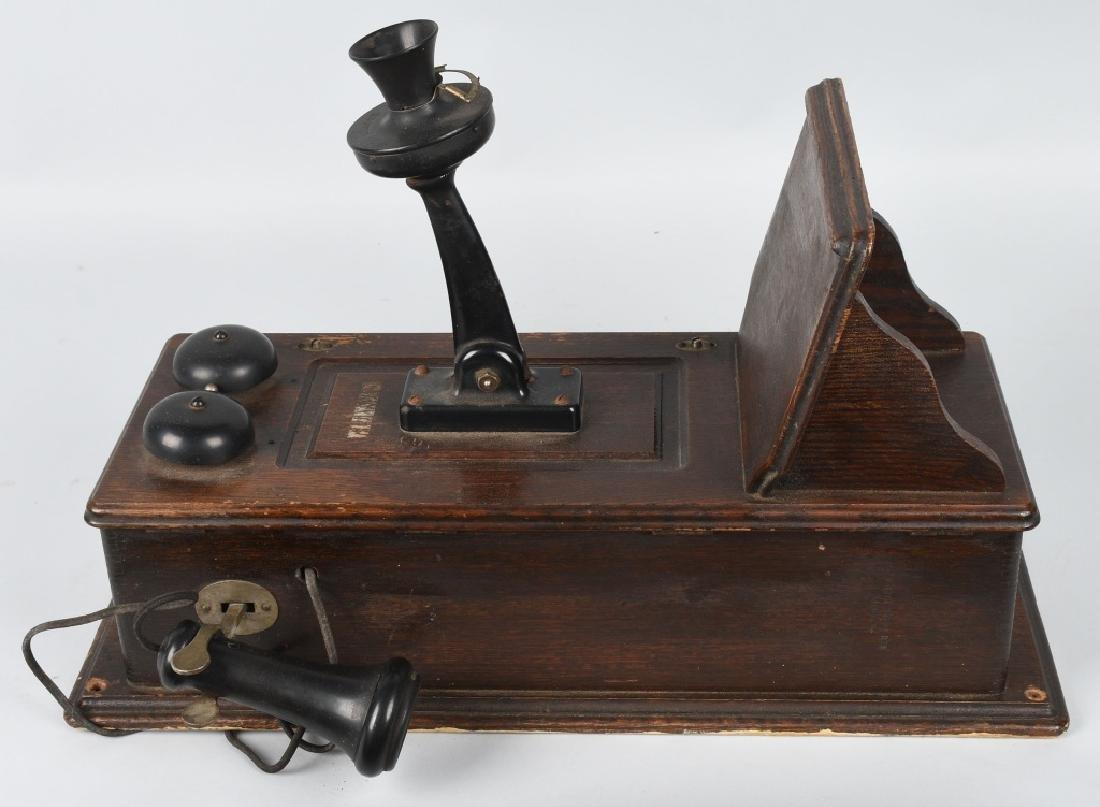 ANTIQUE KELLOGG OAK HAND CRANK TELEPHONE - 3