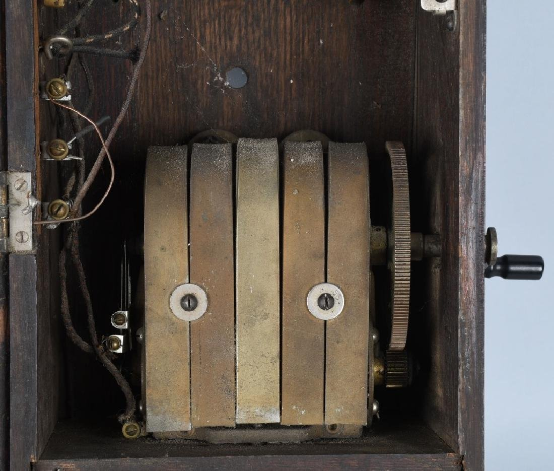 ANTIQUE KELLOGG OAK HAND CRANK TELEPHONE - 5