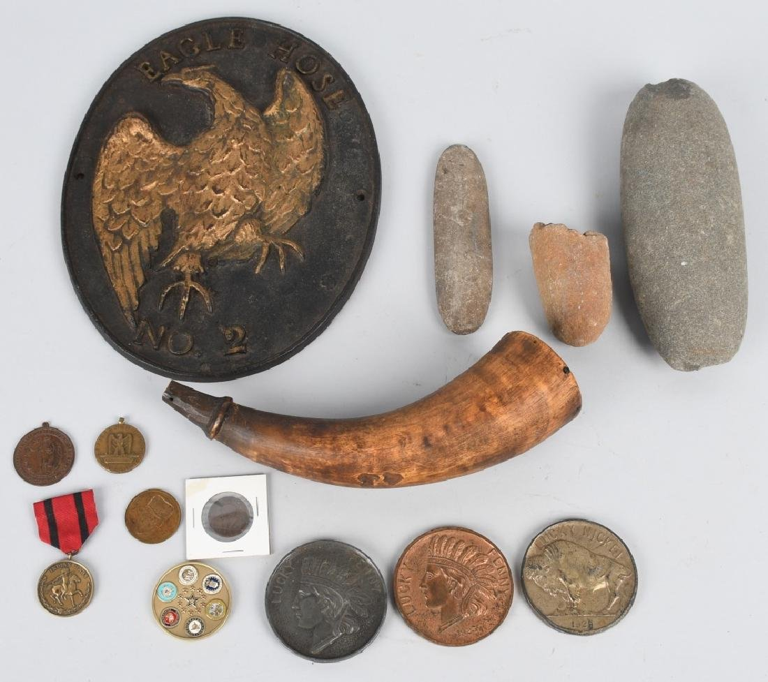 BOX LOT MILITARY, INDIAN RELICS, & MORE