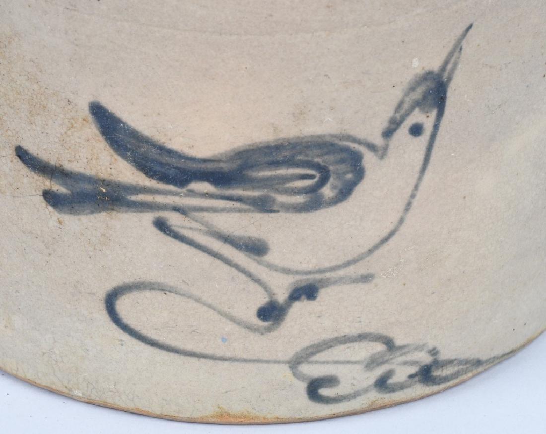 STONEWARE CROCK with COBALT BLUE BIRD DECORATION - 2