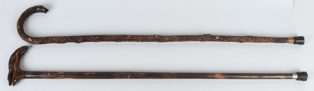 2-CARVED FOLK ART CANES