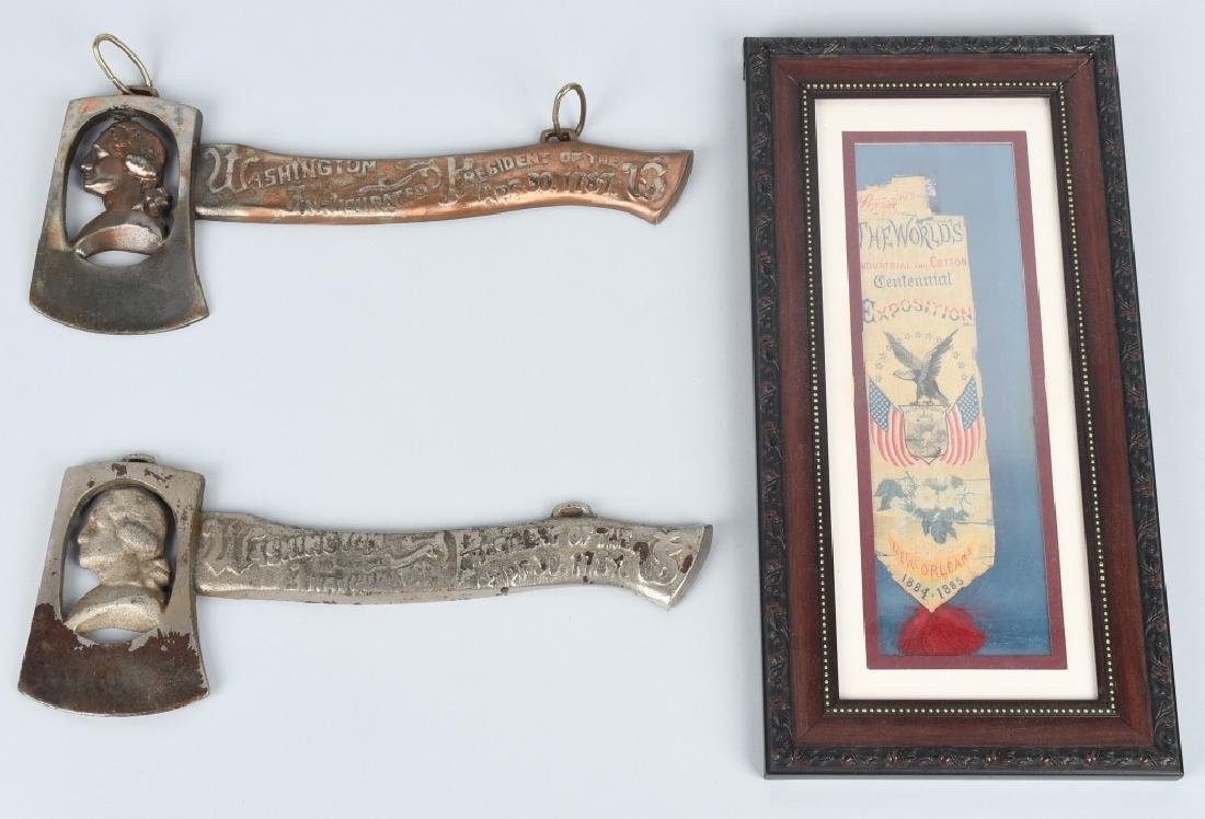2-CAST IRON WASHINGTON HATCHETS & 1885 RIBBON