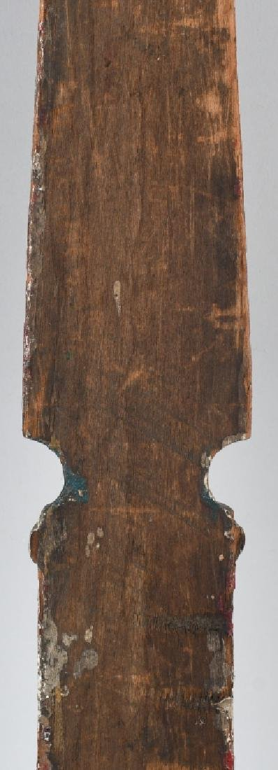 WOOD CARVED & PAINTED WALL MOUNT BARBER POLE - 8