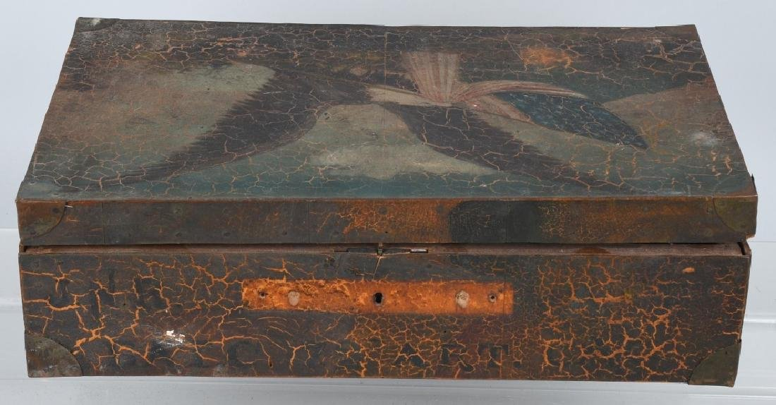 FOLK ART AMERICAN EAGLE PAINTED WOOD BOX - 2