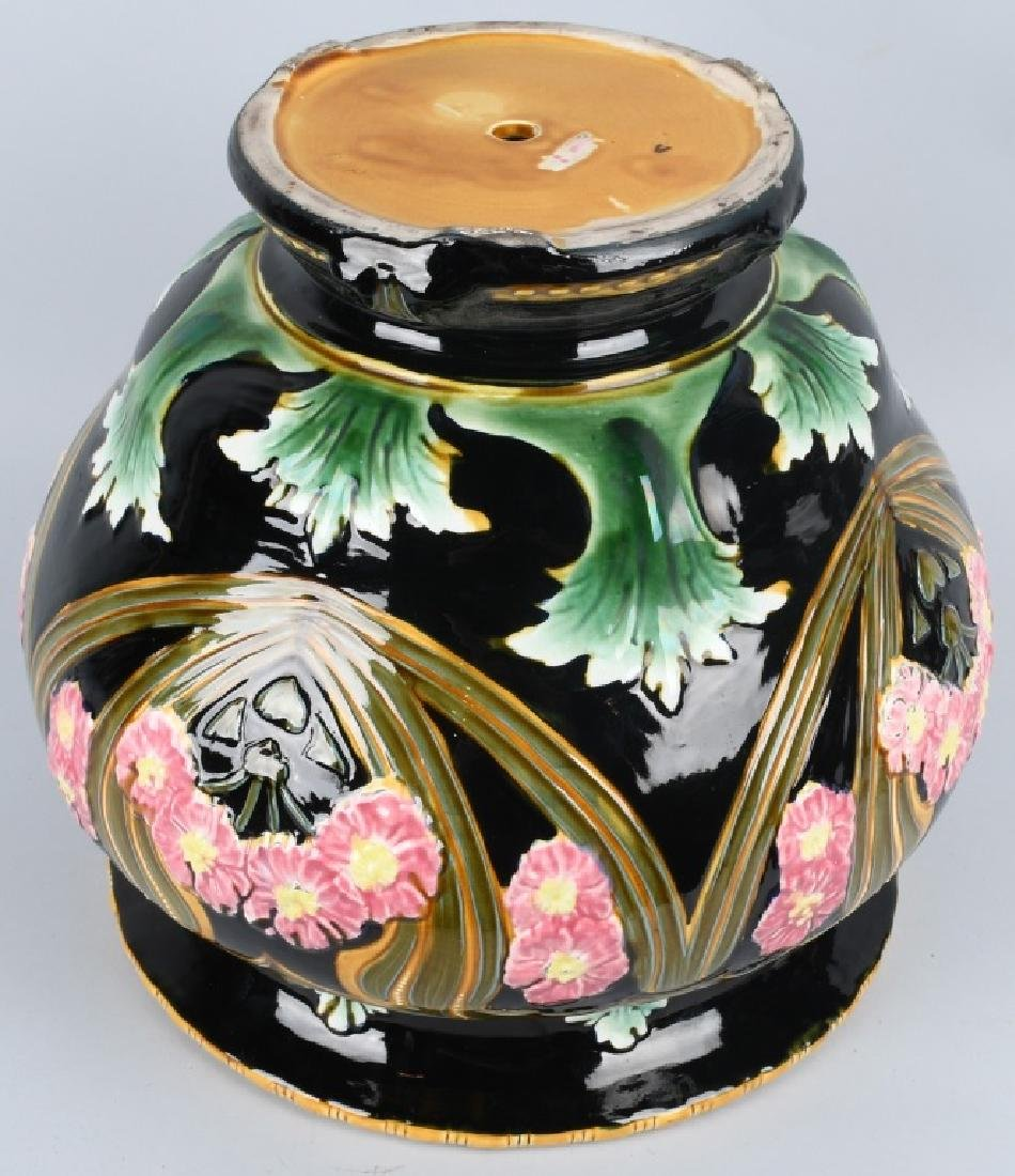 LARGE MAJOLICA TYPE JARDINIERE POTTERY PLANTER - 5