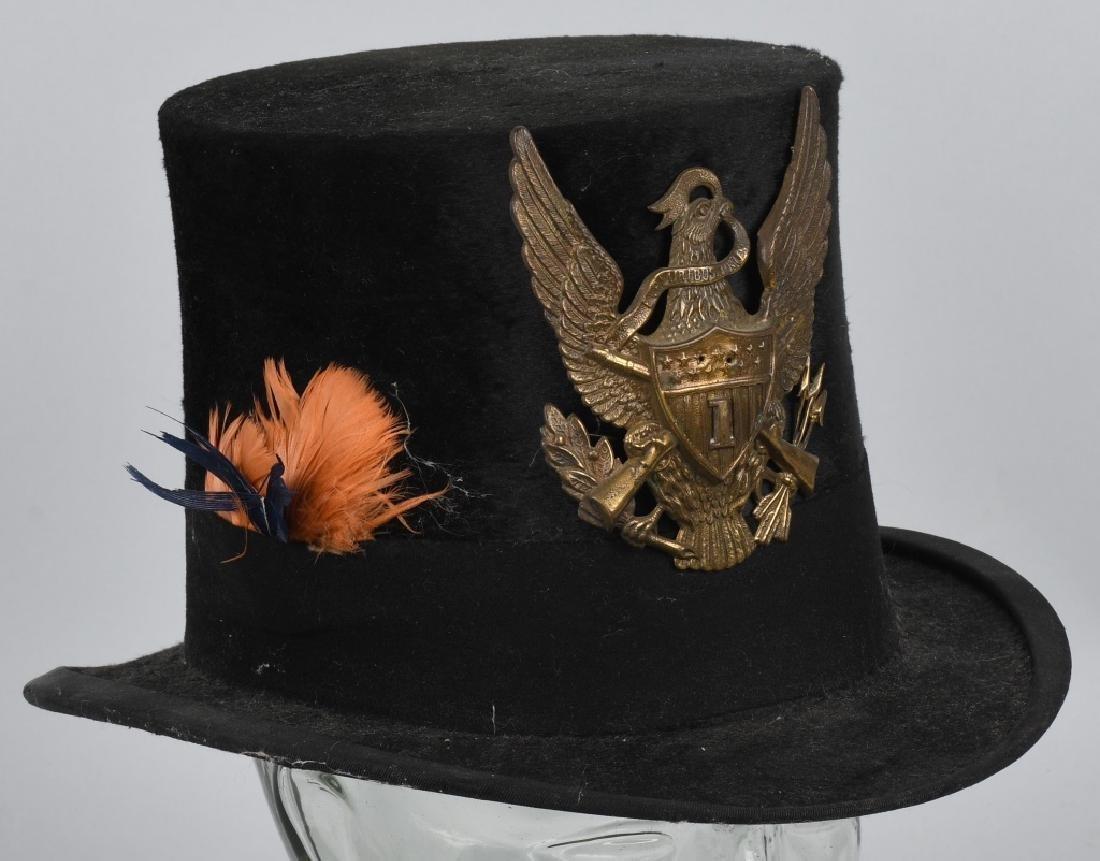 CIVIL WAR ERA STOVE PIPE HAT w/ EAGLE BADGE
