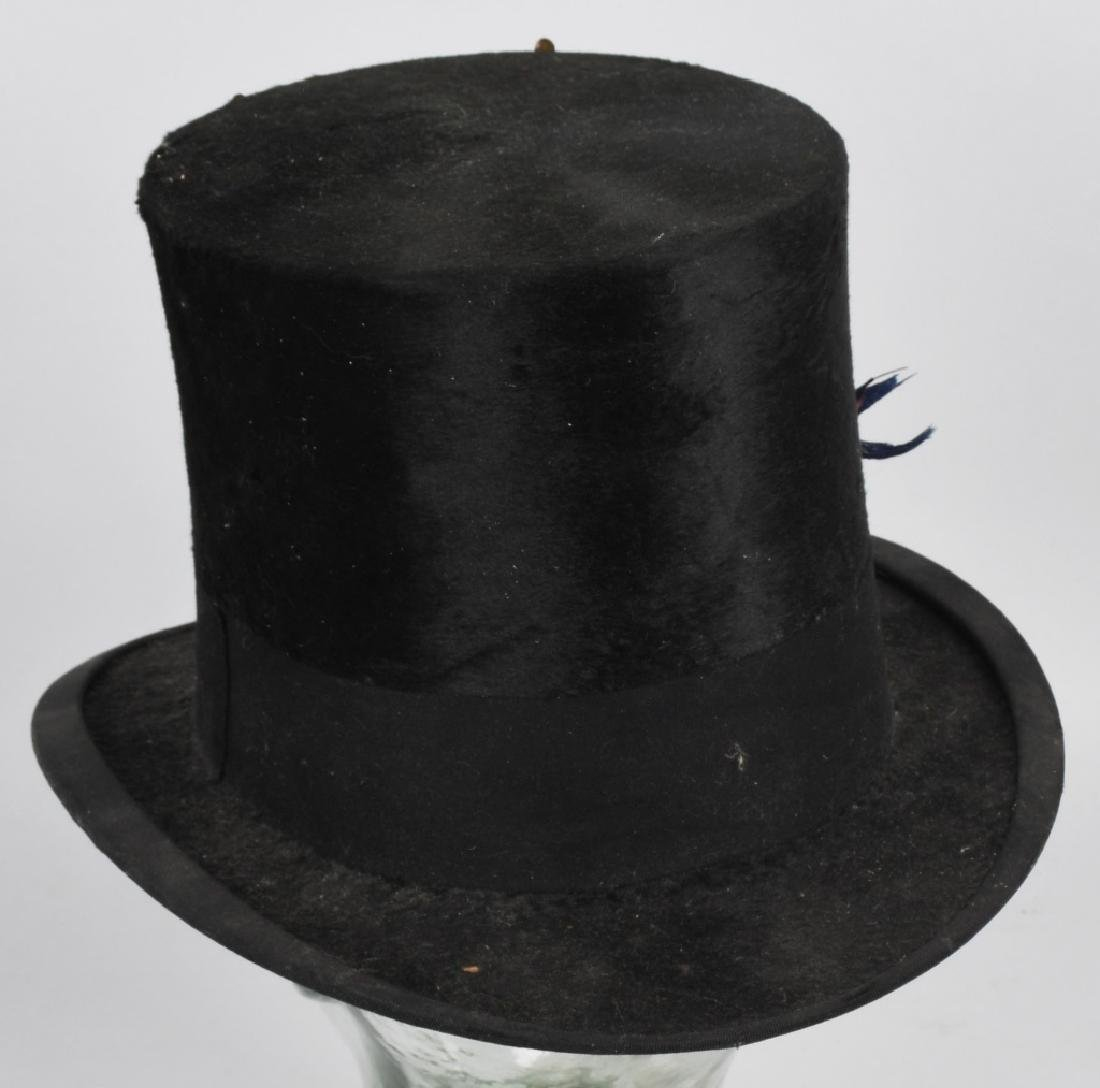 CIVIL WAR ERA STOVE PIPE HAT w/ EAGLE BADGE - 3