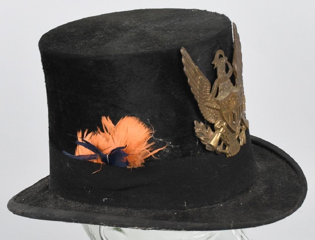 CIVIL WAR ERA STOVE PIPE HAT w/ EAGLE BADGE - 4
