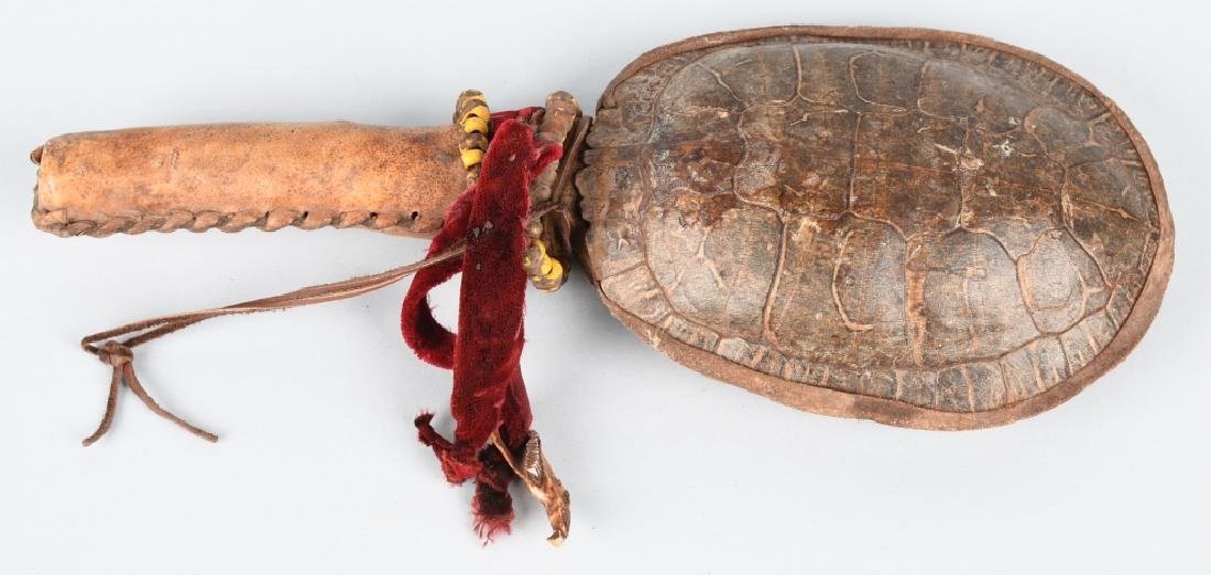 INDIAN CEREMONIAL TURTLE SHELL RATTLE