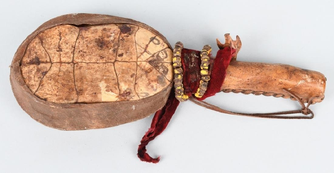 INDIAN CEREMONIAL TURTLE SHELL RATTLE - 2