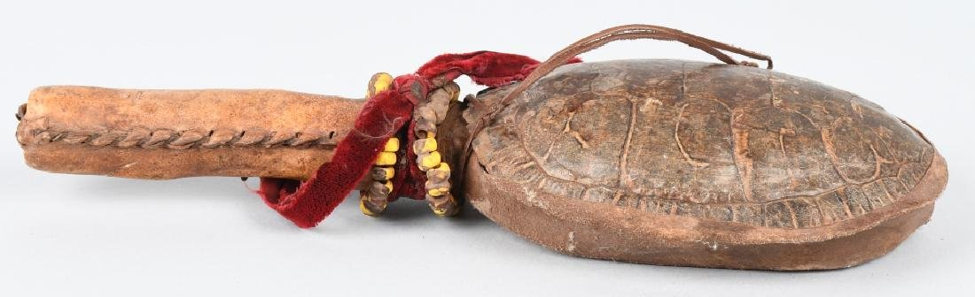 INDIAN CEREMONIAL TURTLE SHELL RATTLE - 3