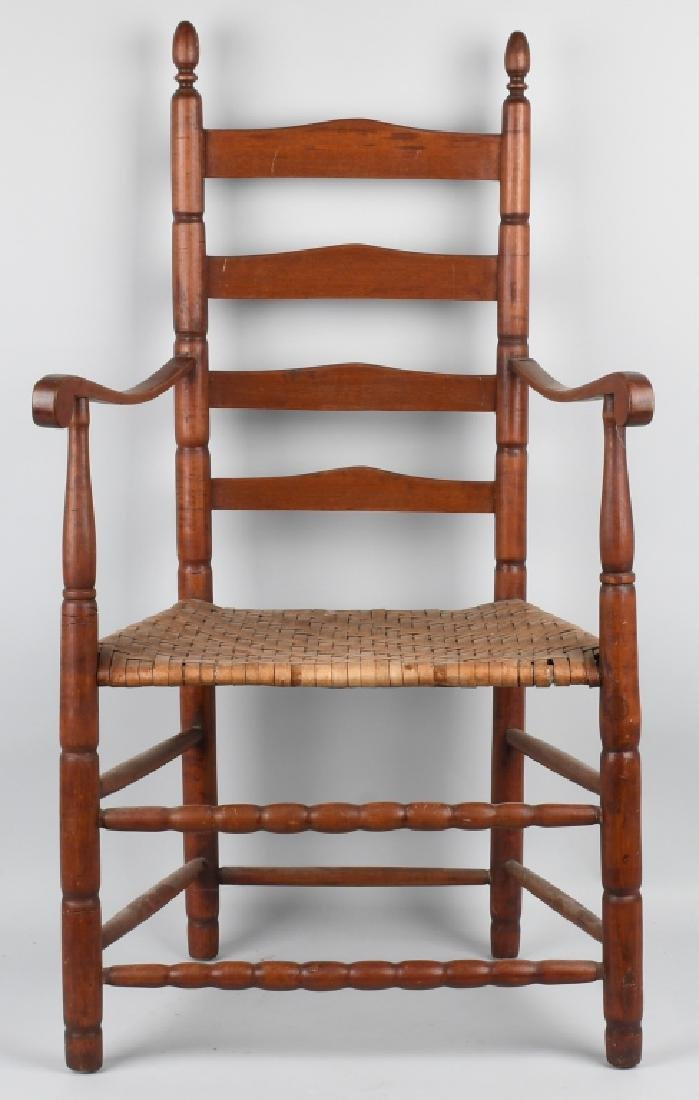 NEW ENGLAND LADDER BACK ARM CHAIR