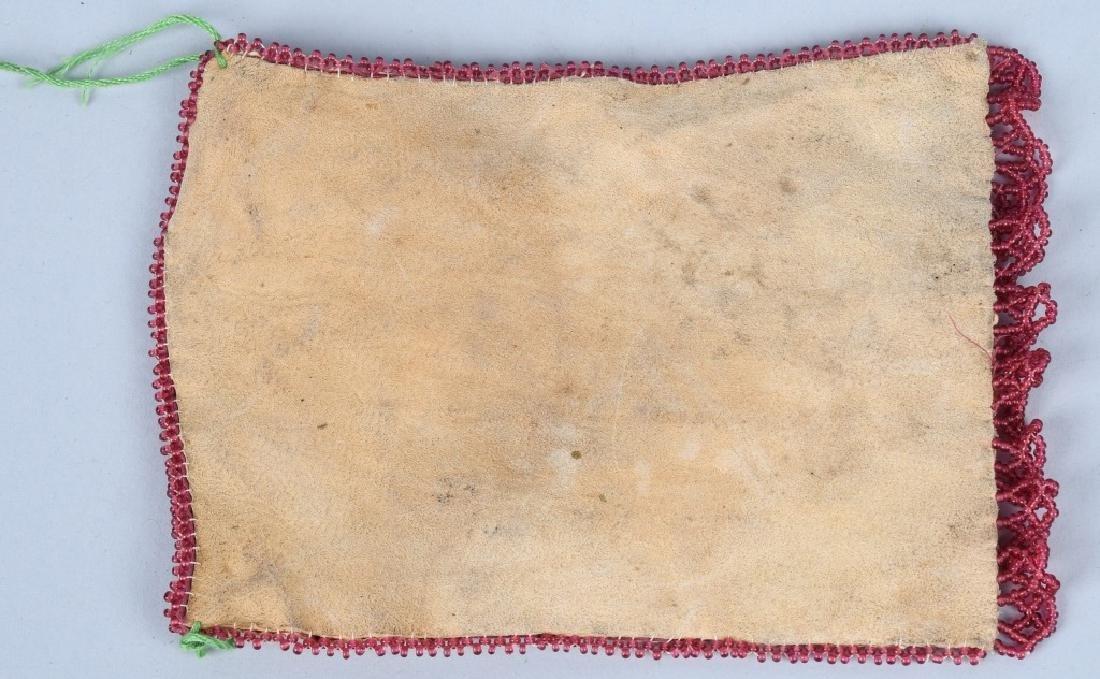 EARLY CREE INDIAN DEER SKIN BEADED BAG - 3