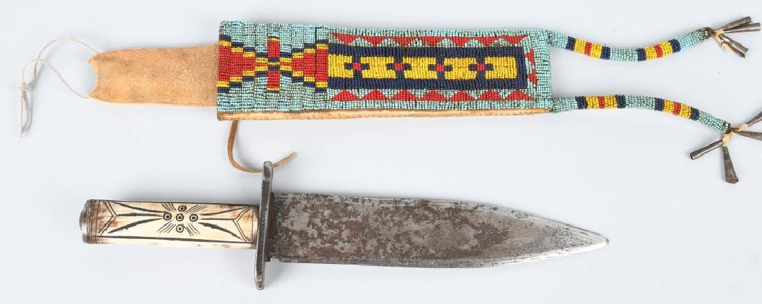 CHEYENNE INDIAN FORGED KNIFE & SHEATH