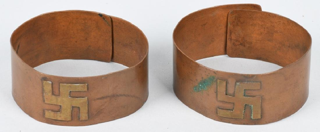 EARLY COPPER & BRASS ARM BANDS w/ SYMBOLS