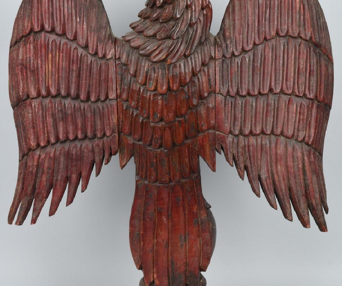 FOLK ART CARVED WOOD AMERICAN EAGLE - 9