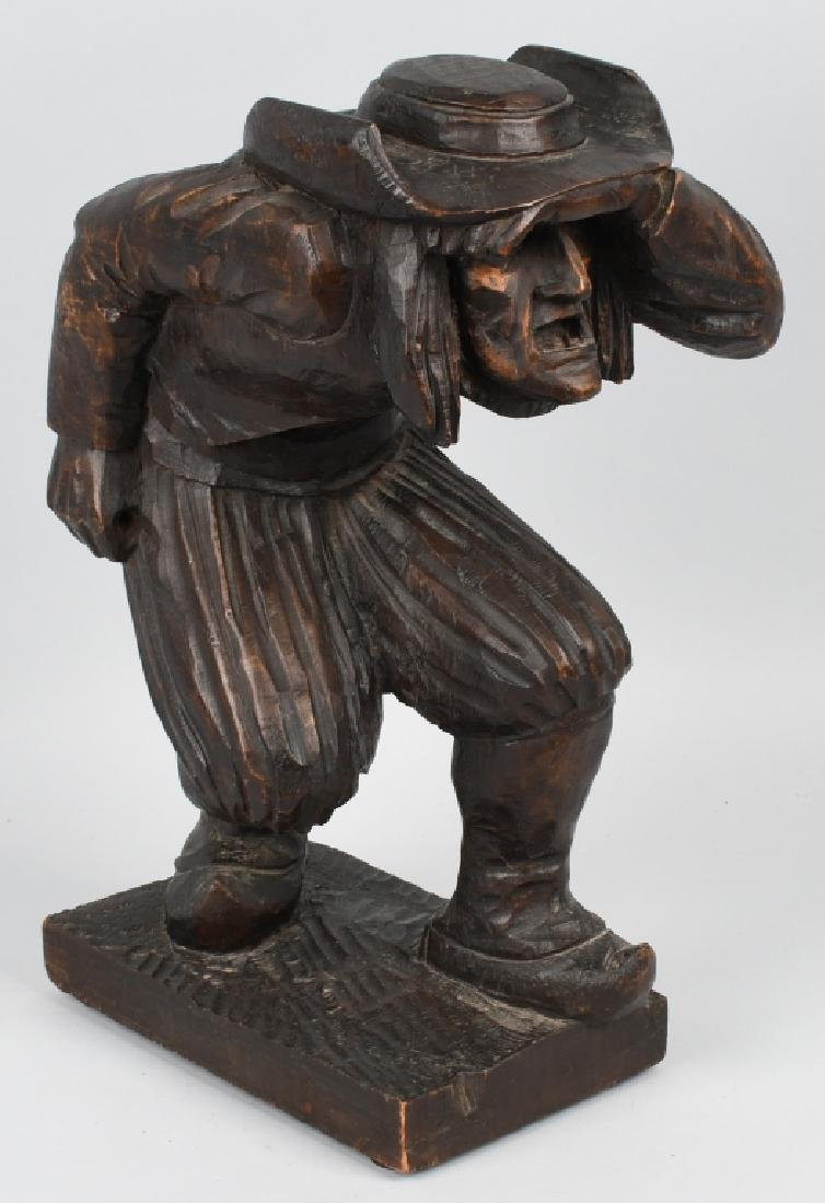 WOOD CARVED LOOKOUT SOLDIER FIGURE