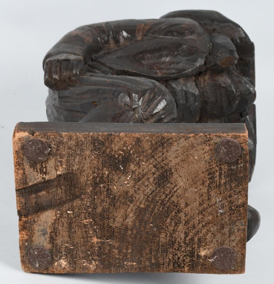 WOOD CARVED LOOKOUT SOLDIER FIGURE - 6