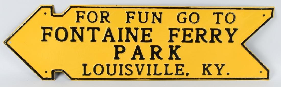 FOUNTAINE FERRY PARK TIN ARROW SIGN