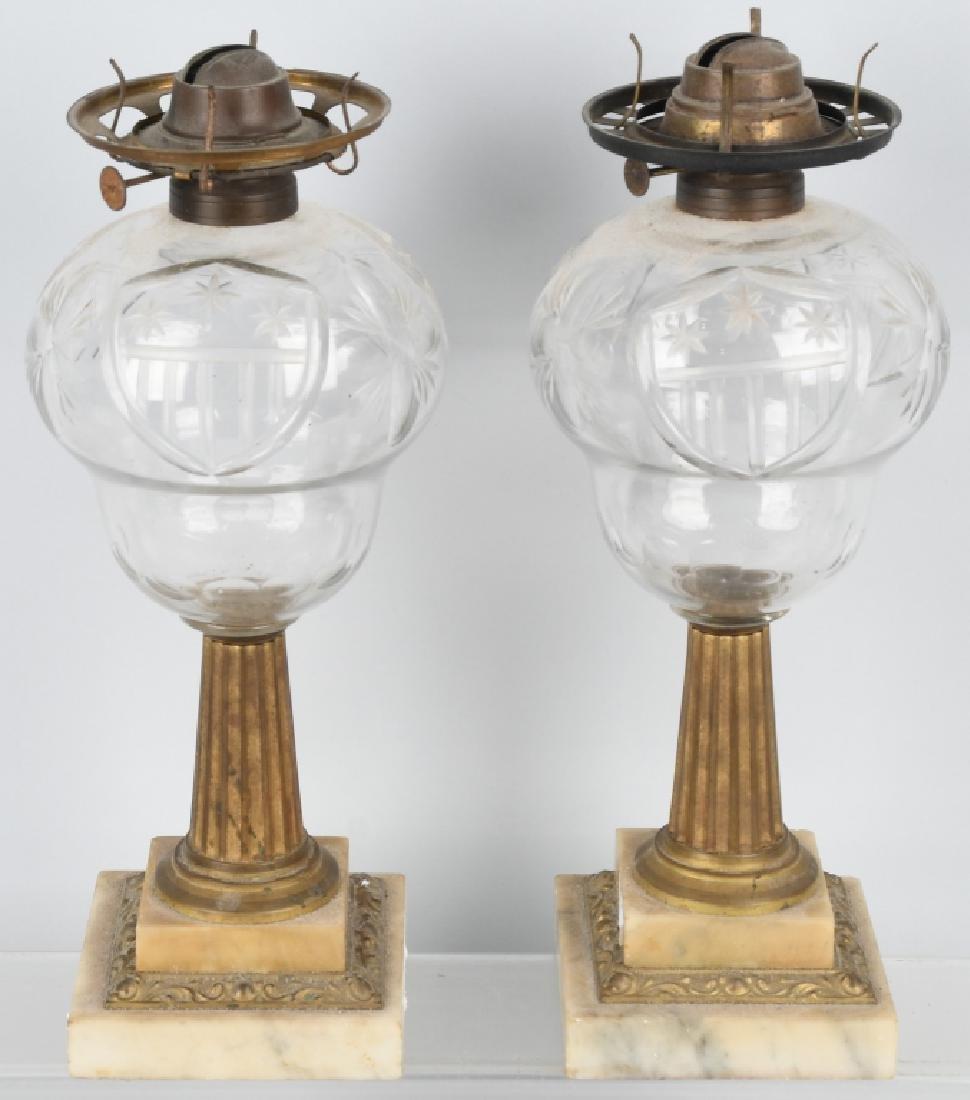 PAIR of AMERICAN PATRIOTIC OIL LAMPS