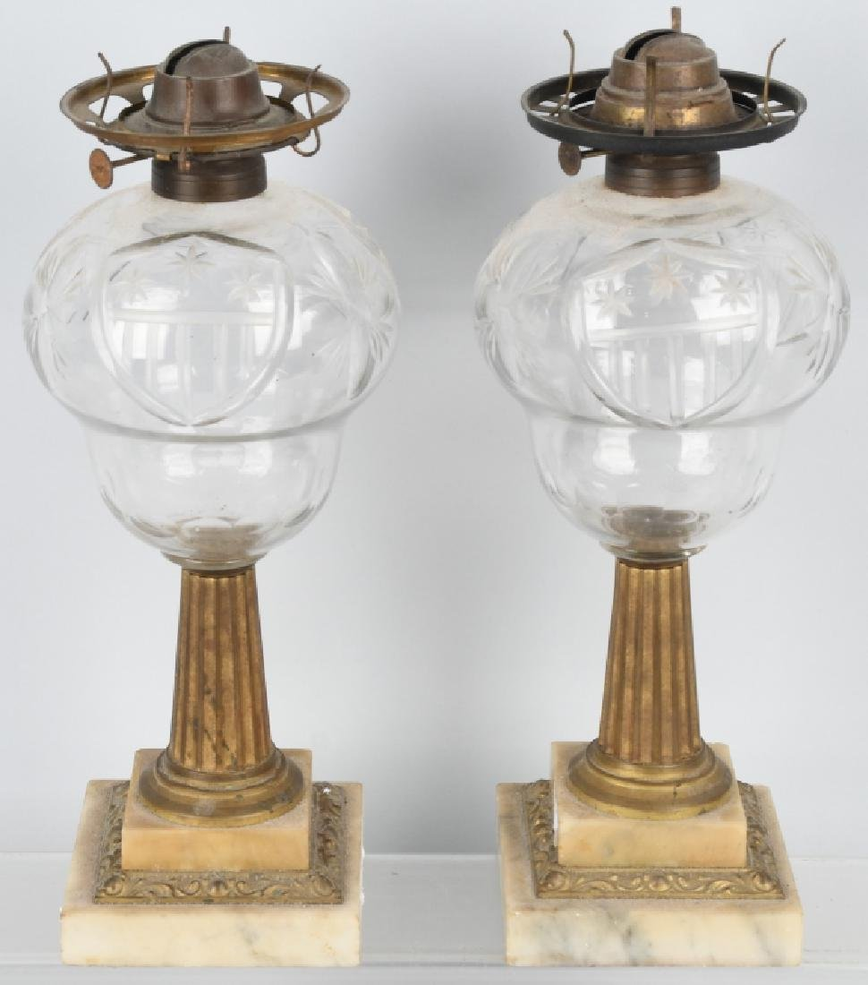PAIR of AMERICAN PATRIOTIC OIL LAMPS
