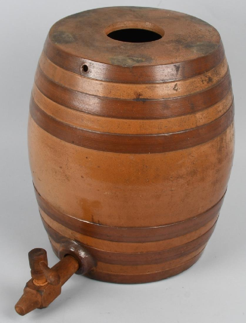 STONEWARE WATER COOLER w/ WOOD SPIGOT