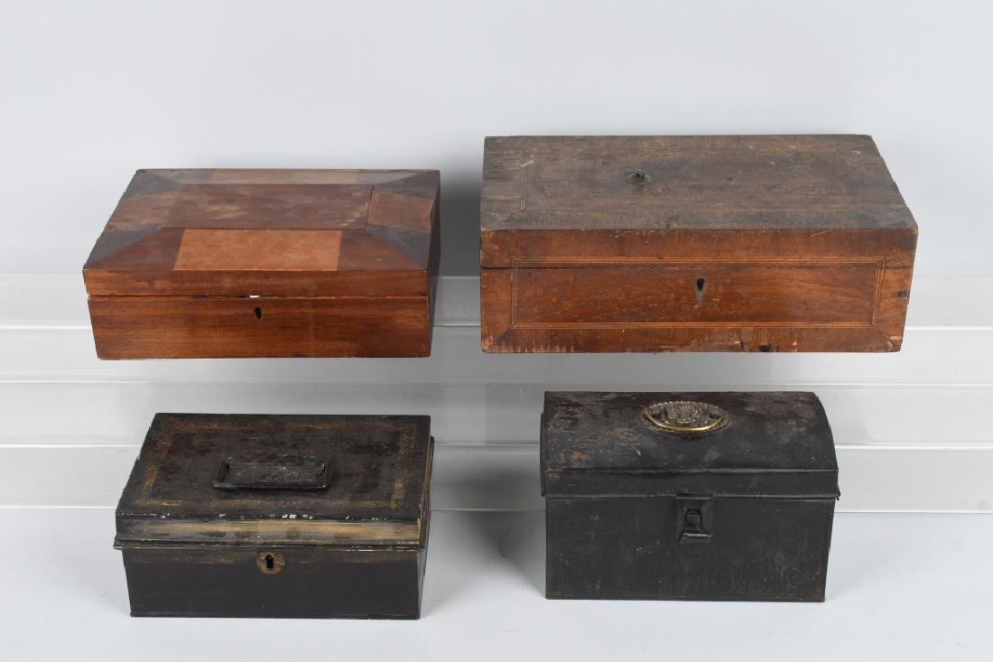 4-ANTIQUE LOCKING BOXES