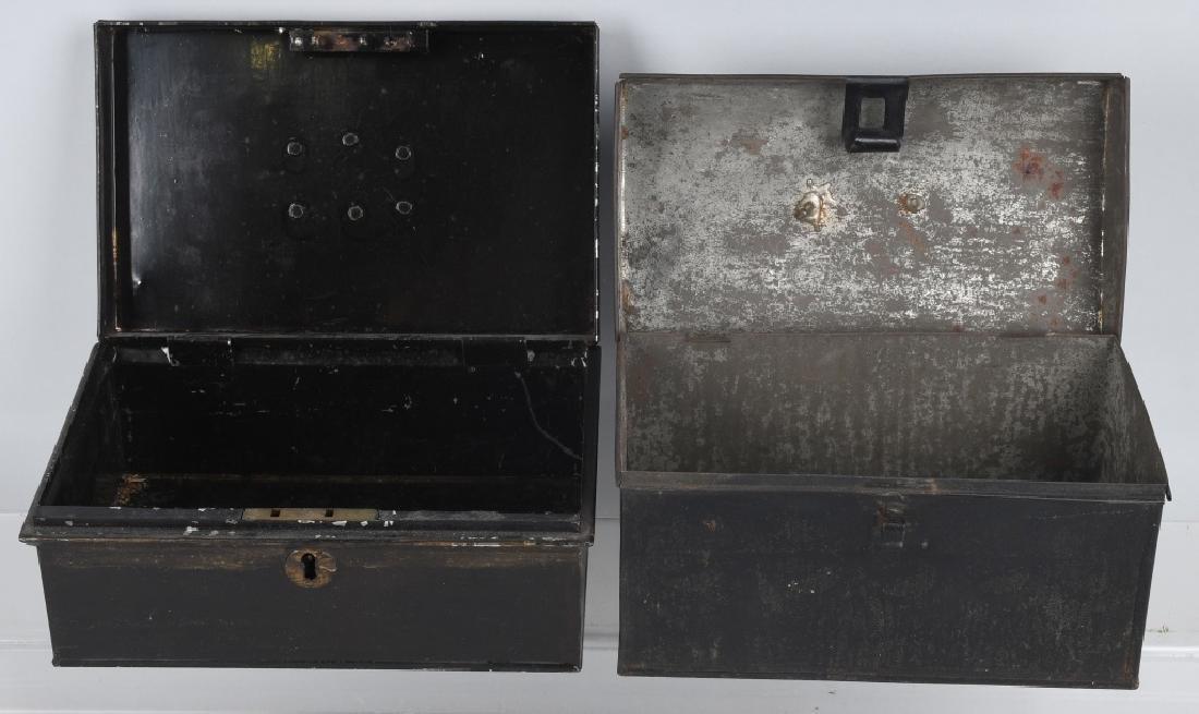 4-ANTIQUE LOCKING BOXES - 8