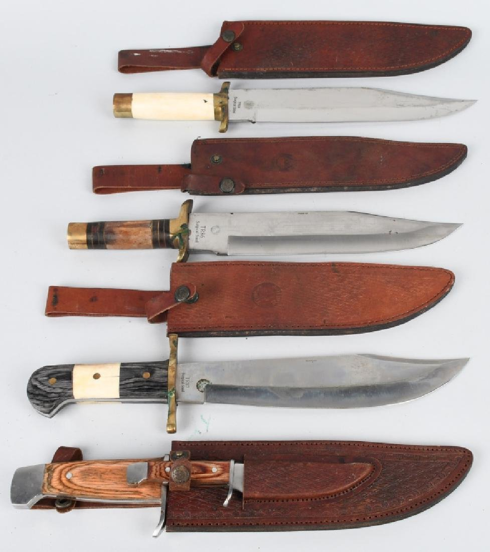 4-LARGE TIMBER RATTLER BOWIE KNIVES