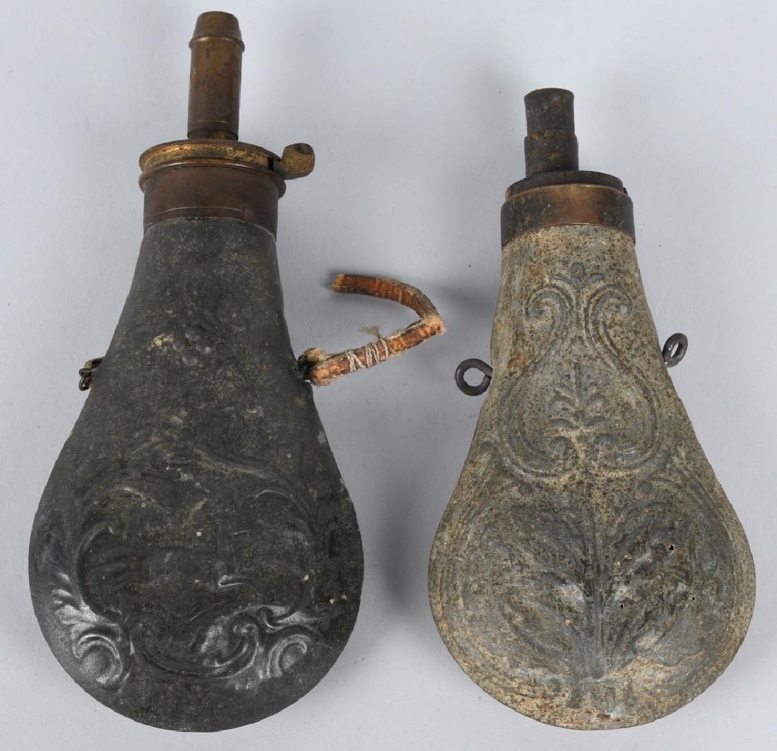 4-ANTIQUE RIFLE GUNPOWDER FLASKS - 5