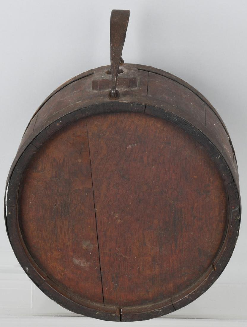 19th CENT. WOOD IRON BANDED CANTEEN