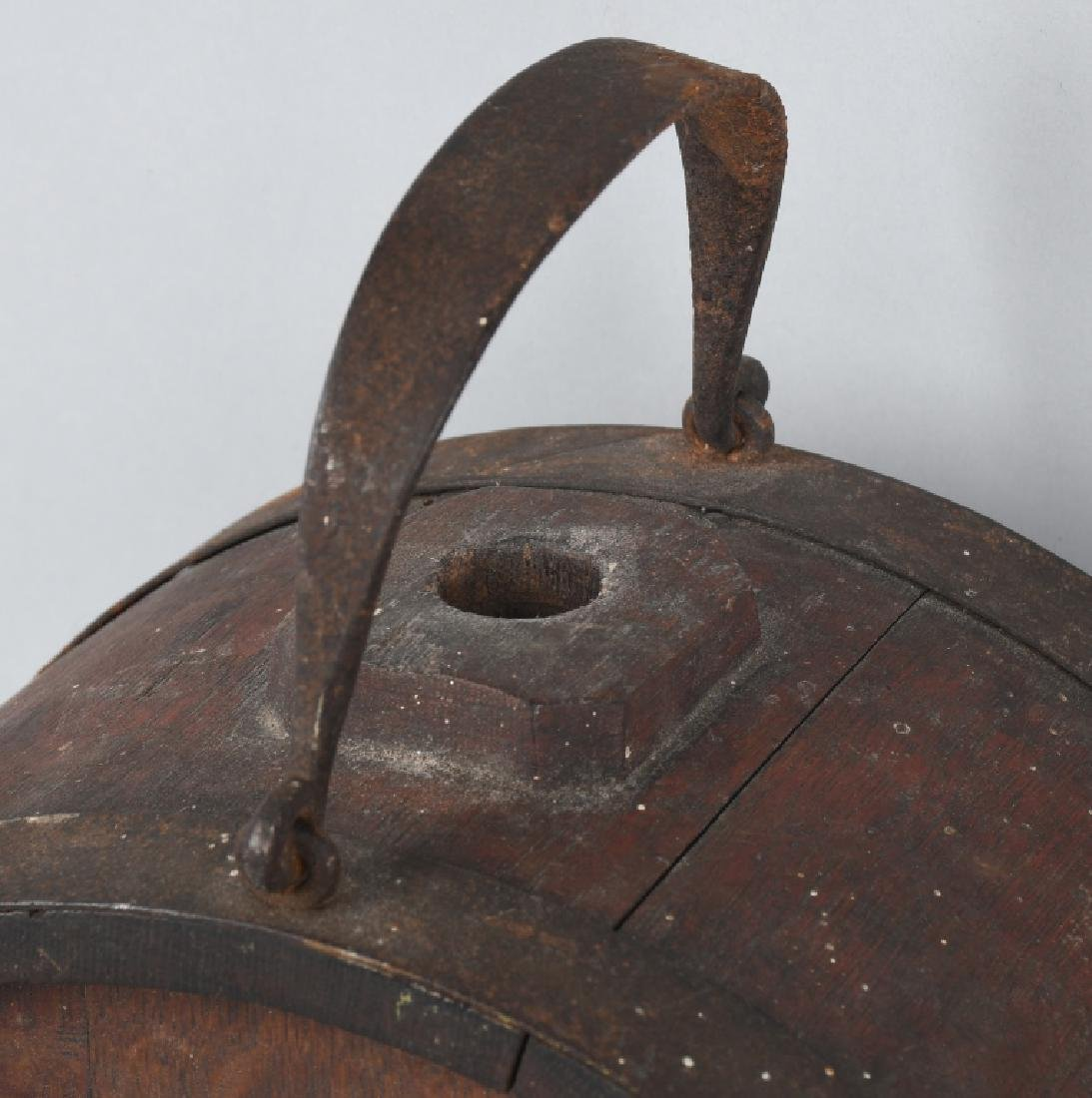 19th CENT. WOOD IRON BANDED CANTEEN - 2