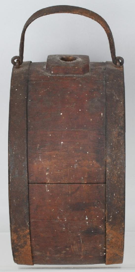 19th CENT. WOOD IRON BANDED CANTEEN - 3