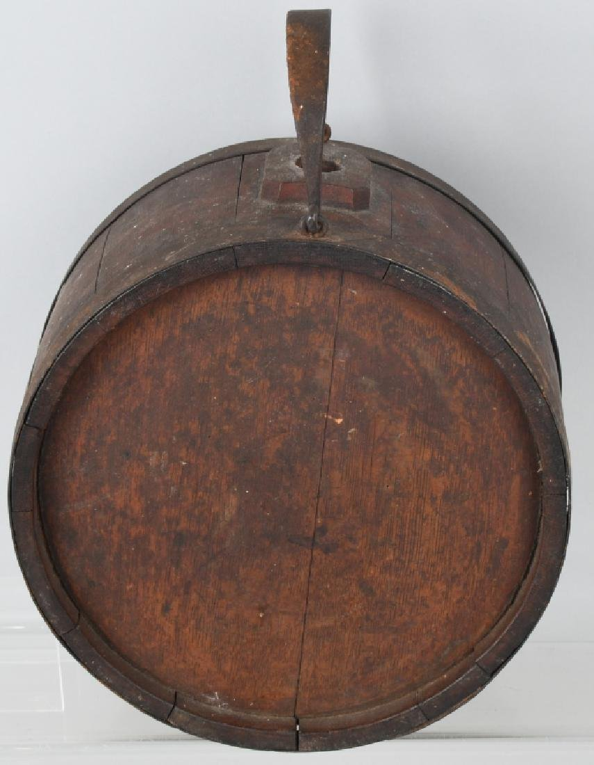 19th CENT. WOOD IRON BANDED CANTEEN - 5