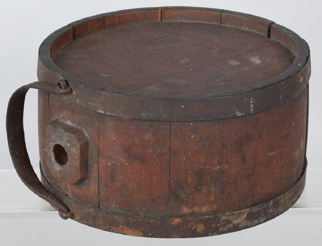 19th CENT. WOOD IRON BANDED CANTEEN - 6